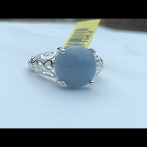 Genuine Angelite Solitaire Ring